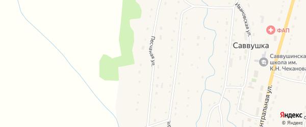 Песчаная улица на карте села Саввушки с номерами домов