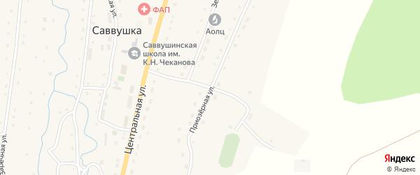Приозерная улица на карте села Саввушки с номерами домов