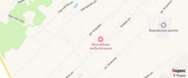 Центральный переулок на карте Боровского села с номерами домов