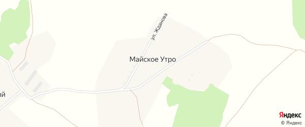 Зеленая улица на карте поселка Майского Утра с номерами домов