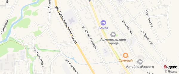 Улица 40 лет Октября на карте Змеиногорска с номерами домов