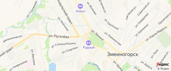 Карта села Мошкино города Змеиногорска в Алтайском крае с улицами и номерами домов