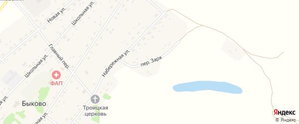 Переулок Заря на карте села Быково с номерами домов