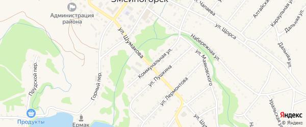 Коммунальная улица на карте Змеиногорска с номерами домов