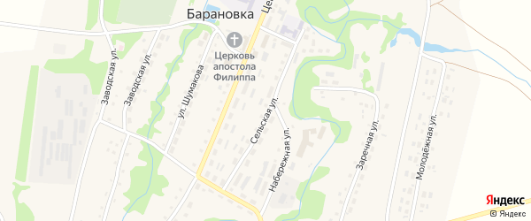 Сельская улица на карте села Барановки с номерами домов