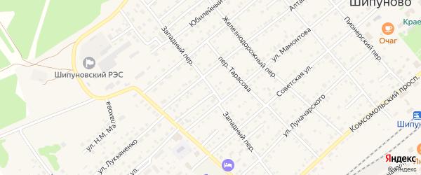 Западный переулок на карте села Шипуново с номерами домов