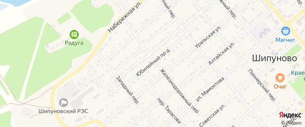 Юбилейный проезд на карте села Шипуново с номерами домов