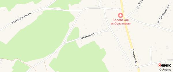 Зеленая улица на карте села Белово с номерами домов