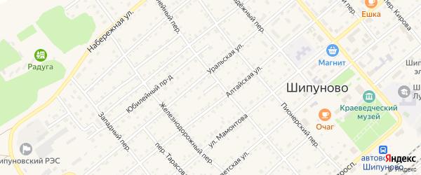 Солнечный проезд на карте села Шипуново с номерами домов