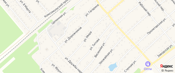 Улица Мира на карте села Шипуново с номерами домов