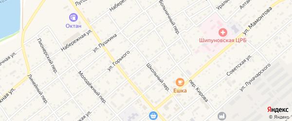 Школьный переулок на карте села Шипуново с номерами домов