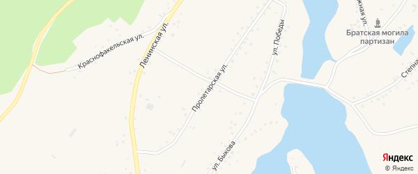 Пролетарская улица на карте села Белово с номерами домов