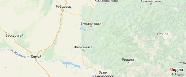 Карта Третьяковского района Алтайского края с городами и населенными пунктами
