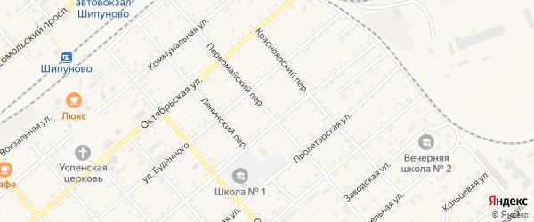 Первомайский переулок на карте села Шипуново с номерами домов
