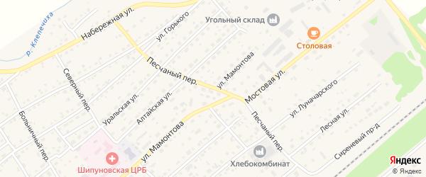 Песчаный переулок на карте села Шипуново с номерами домов