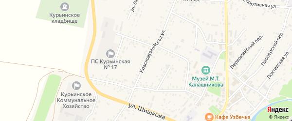Красноармейская улица на карте села Курьи с номерами домов