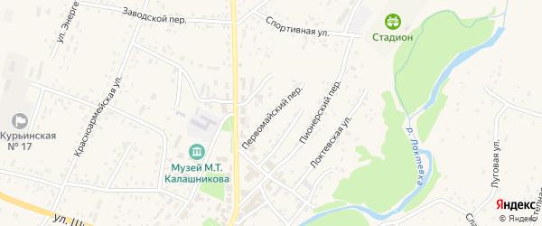 Первомайский переулок на карте села Курьи с номерами домов