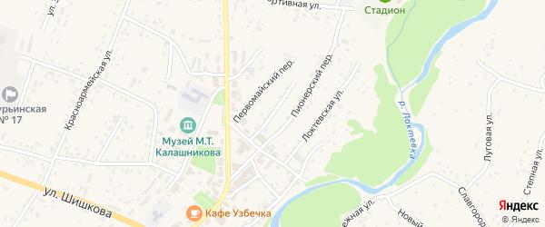 Партизанский переулок на карте села Курьи с номерами домов