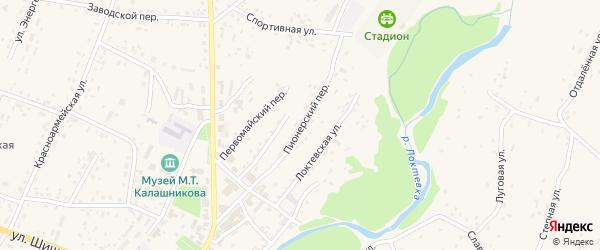 Пионерский переулок на карте села Курьи с номерами домов