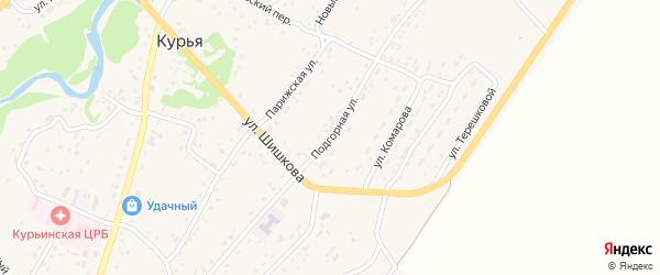 Подгорная улица на карте села Курьи с номерами домов