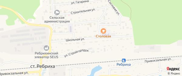 Школьная улица на карте станции Ребрихи с номерами домов