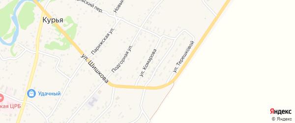 Улица Комарова на карте села Курьи с номерами домов