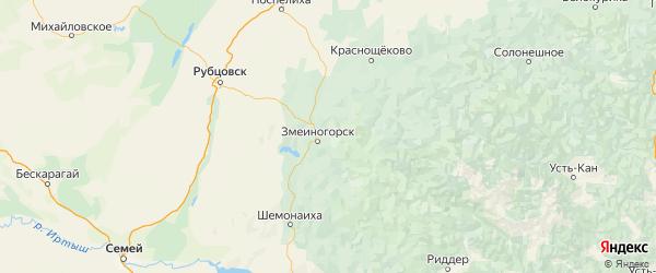 Карта Змеиногорского района Алтайского края с городами и населенными пунктами