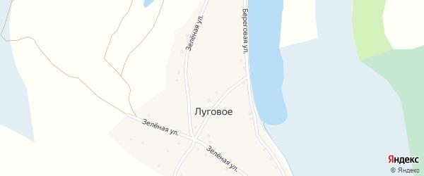 Зеленая улица на карте Лугового села с номерами домов