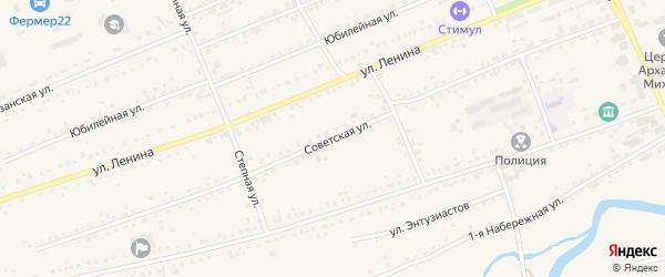 Советская улица на карте села Ребрихи с номерами домов
