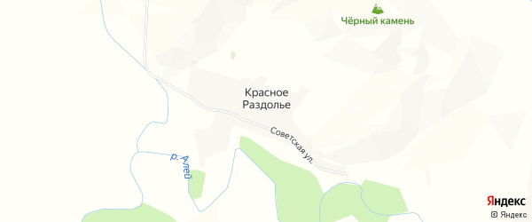 Карта поселка Красного Раздолья в Алтайском крае с улицами и номерами домов
