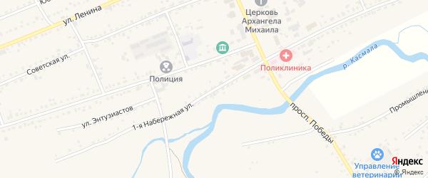 1-я Набережная улица на карте села Ребрихи с номерами домов
