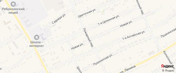 Пожарный переулок на карте села Ребрихи с номерами домов