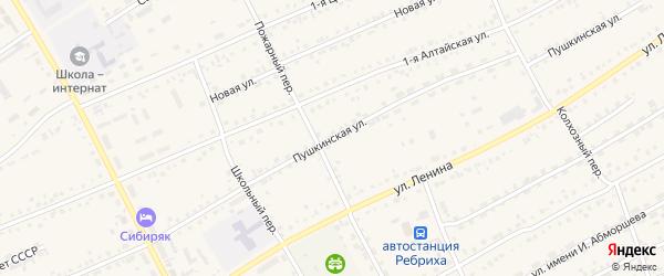 Пушкинская улица на карте села Ребрихи с номерами домов