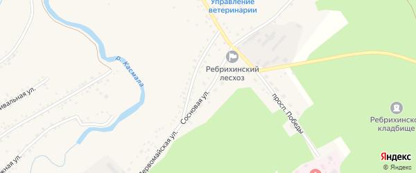 Сосновая улица на карте села Ребрихи с номерами домов