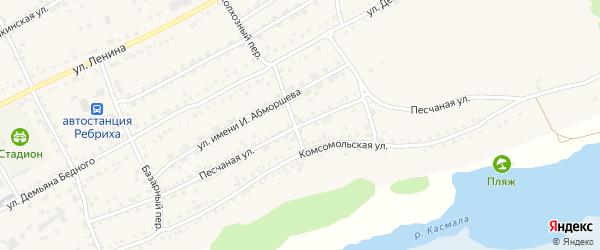 Песчаная улица на карте села Ребрихи с номерами домов
