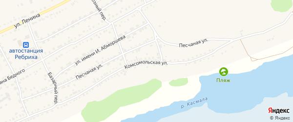 Комсомольская улица на карте села Ребрихи с номерами домов