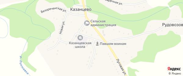 Школьная улица на карте села Казанцево с номерами домов