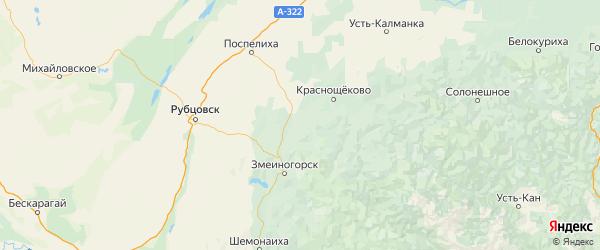 Карта Курьинского района Алтайского края с городами и населенными пунктами