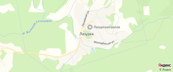 Карта села Лазурки города Змеиногорска в Алтайском крае с улицами и номерами домов