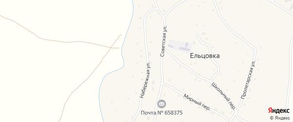 Набережная улица на карте села Ельцовки с номерами домов