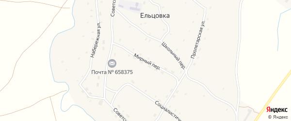 Мирный переулок на карте села Ельцовки с номерами домов