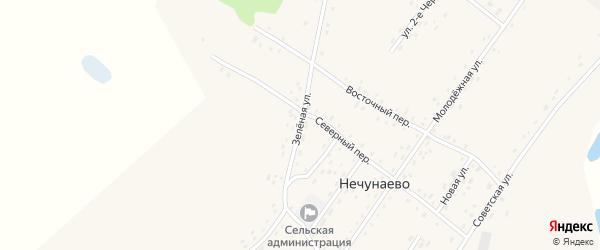Зеленая улица на карте села Нечунаево с номерами домов
