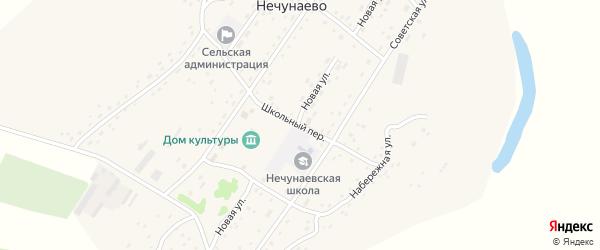 Школьный переулок на карте села Нечунаево с номерами домов