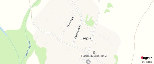 Луговая улица на карте поселка Озерки с номерами домов