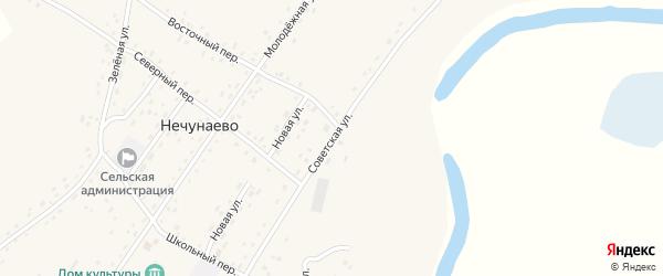 Советская улица на карте села Нечунаево с номерами домов