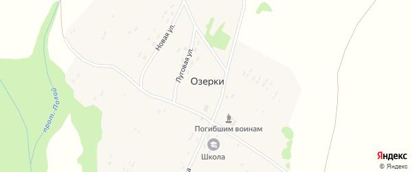 Солнечная улица на карте поселка Озерки с номерами домов