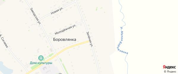 Зеленая улица на карте села Боровлянки с номерами домов