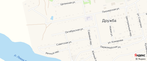 Октябрьская улица на карте села Дружбы с номерами домов
