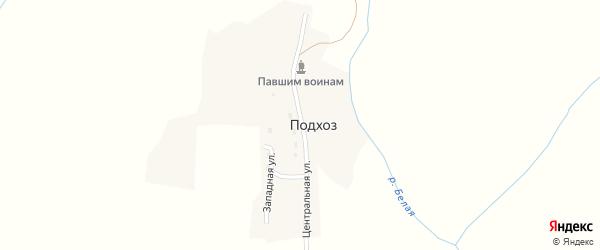 Центральная улица на карте поселка Подхоза с номерами домов