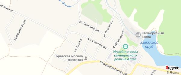 Зеленый переулок на карте села Колывани с номерами домов